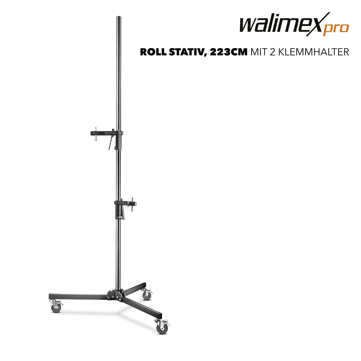Walimex pro Wheeled Tripod with 2 Clamp Holders