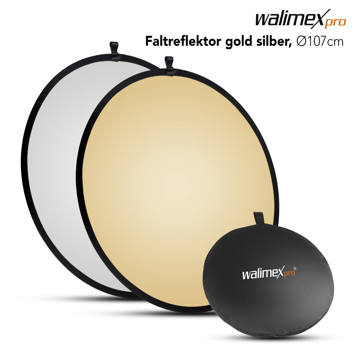 Walimex Foldable Reflector golden/silver, 107cm