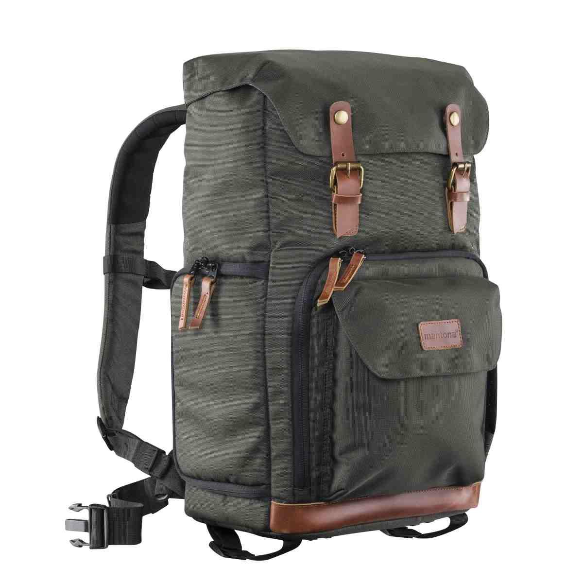 Mantona photo backpack Luis green, retro