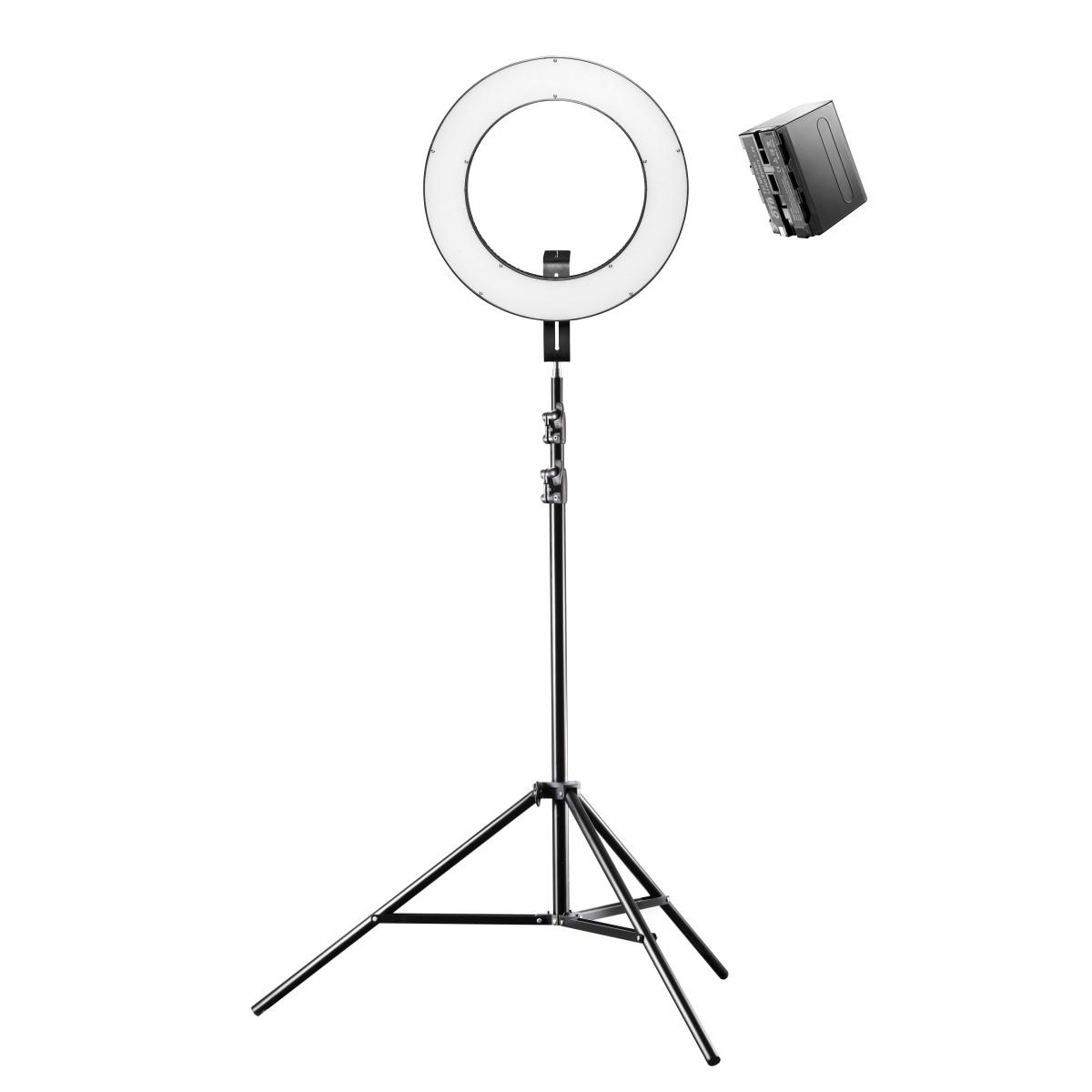 Walimex pro LED Ringleuchte 380 Bi Color Set inkl. Lampenstativ und Akku