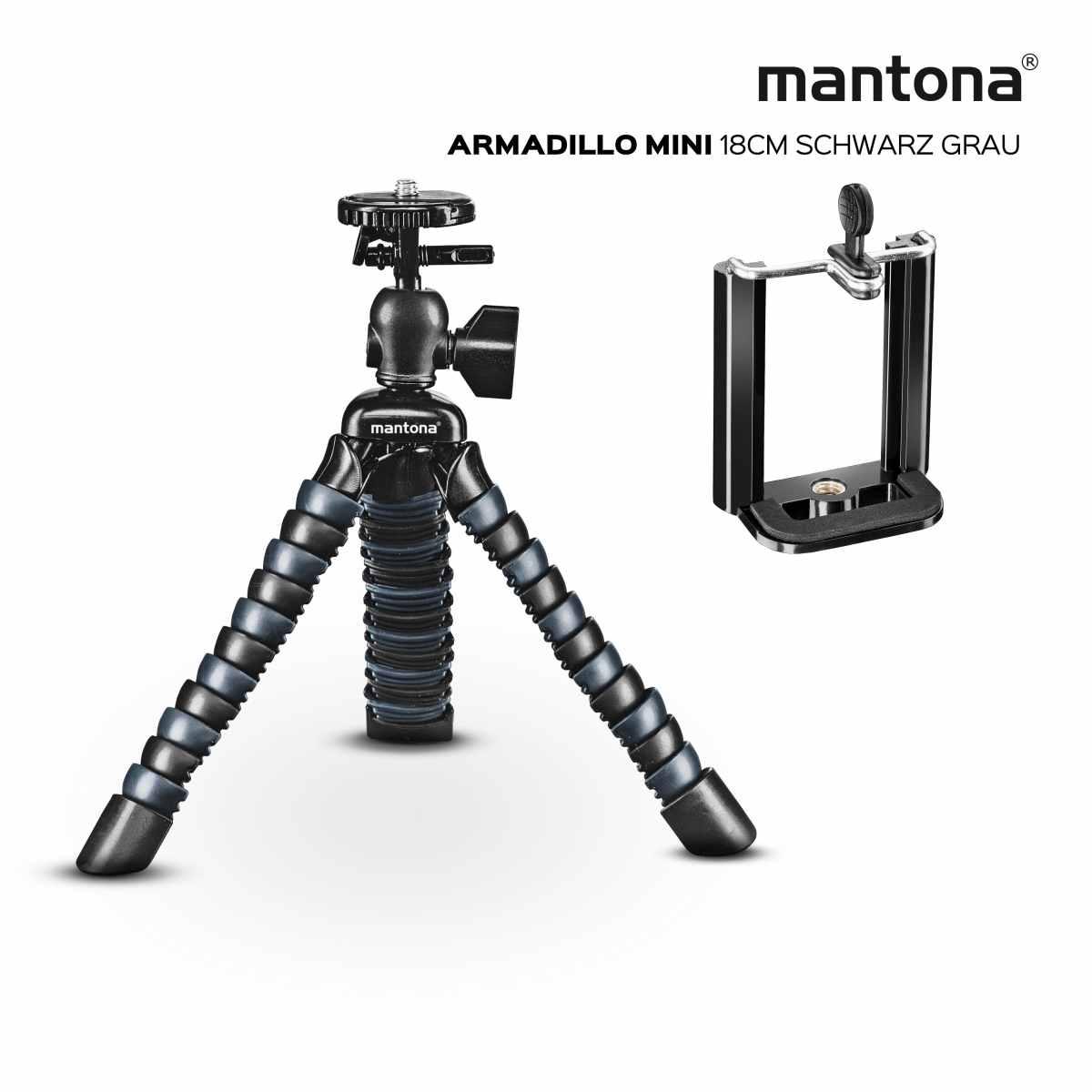 Mantona Armadillo Mini schwarz grau Mini & Tischstativ 18 cm
